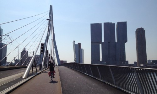 Bike across Erasmus bridge